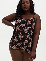 Sophie - Black Floral Chiffon Swing Cami, FLORAL - BLACK, hi-res