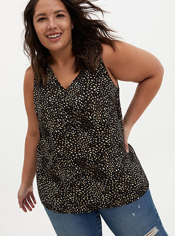Black Dot Georgette & Knit Back Tank, DOTS - BLACK, hi-res