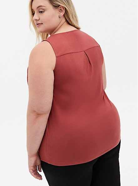 Marsala Red Georgette Knit Back Button Tank, , alternate