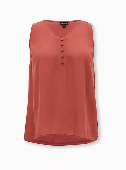 Marsala Red Georgette Knit Back Button Tank, , hi-res