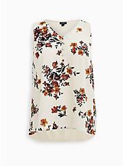 Beige Floral Georgette Knit Back Button Tank, FLORAL - TAN, hi-res