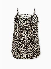 Leopard Georgette Ruffle Crisscross Cami, , hi-res