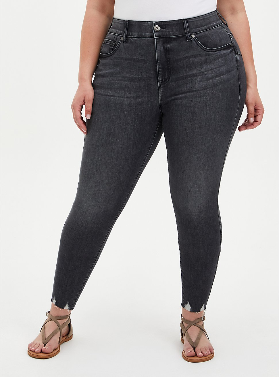 Bombshell Skinny Jean - Super Soft Washed Black With Destructed Hem, RAVEN, hi-res