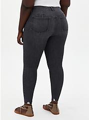Bombshell Skinny Jean - Super Soft Washed Black With Destructed Hem, , fitModel1-alternate