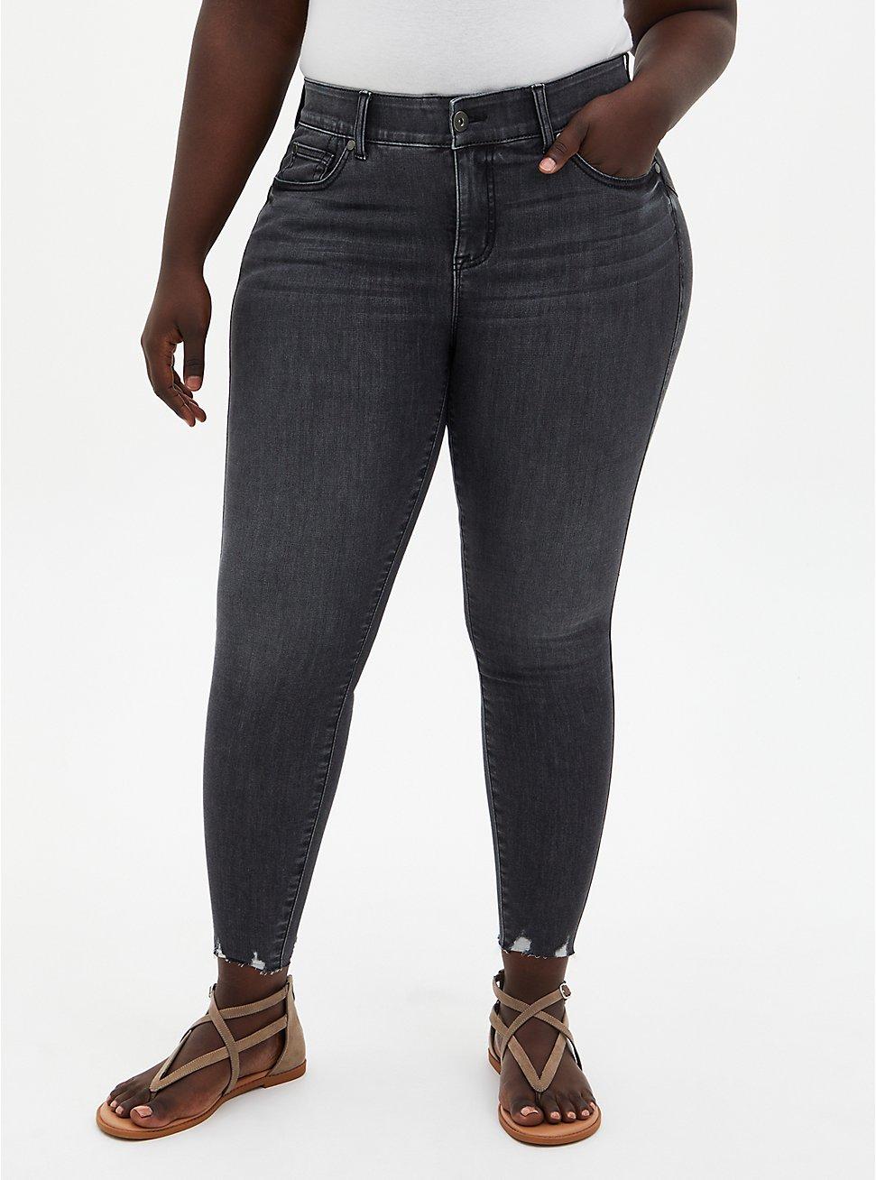 Bombshell Skinny Jean - Super Soft Washed Black With Destructed Hem, , fitModel1-hires