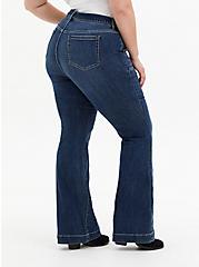 Mid Rise Flare Jean - Super Soft Eco Medium Wash With Tie Belt, BLUE GROTTO, alternate