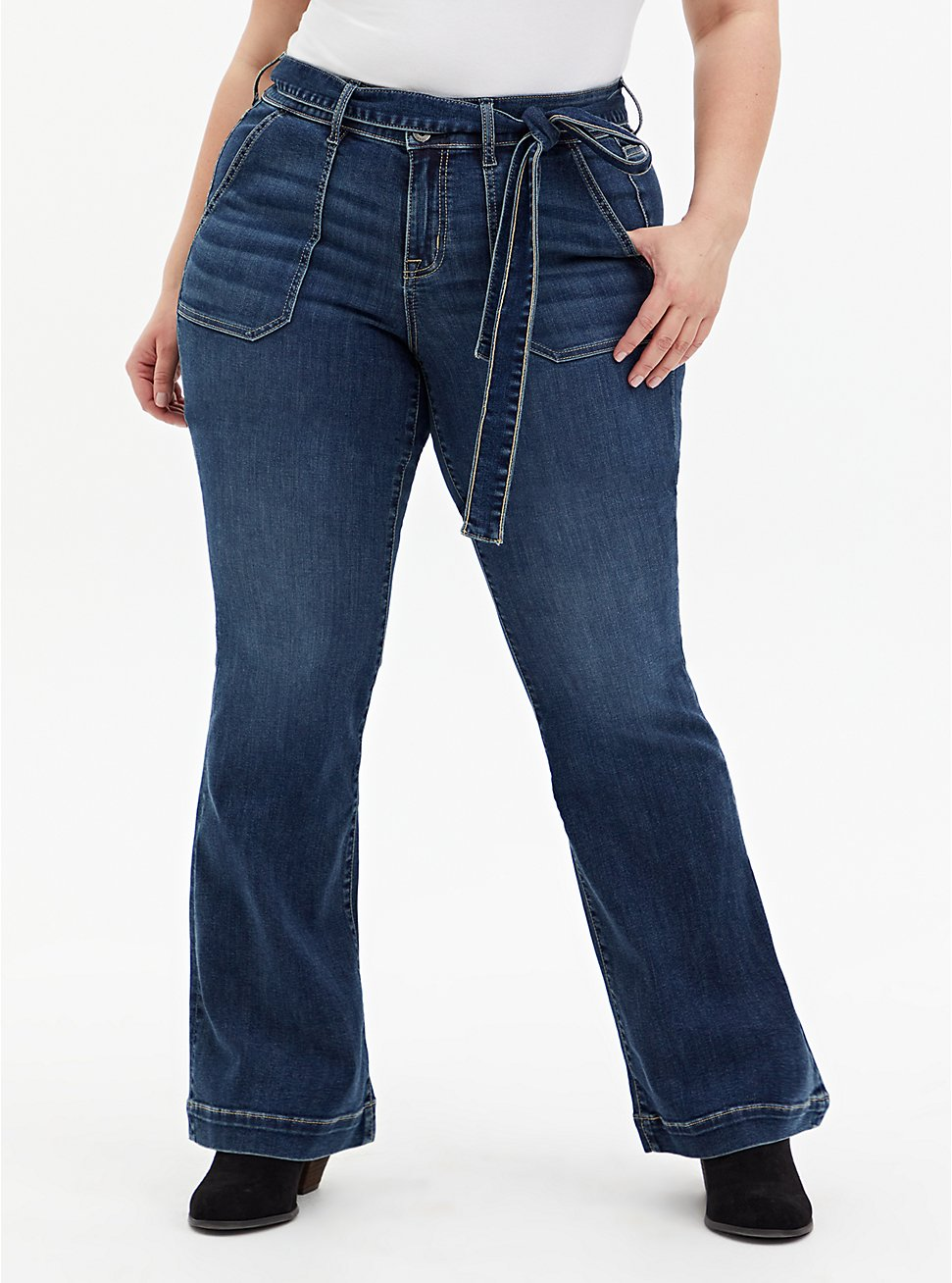 Mid Rise Flare Jean - Super Soft Eco Medium Wash With Tie Belt, BLUE GROTTO, hi-res