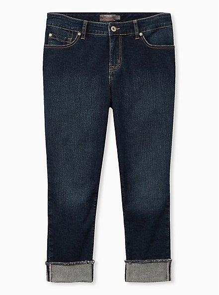 Crop Boyfriend Jean - Vintage Stretch Dark Wash, SANDED RINSE, hi-res