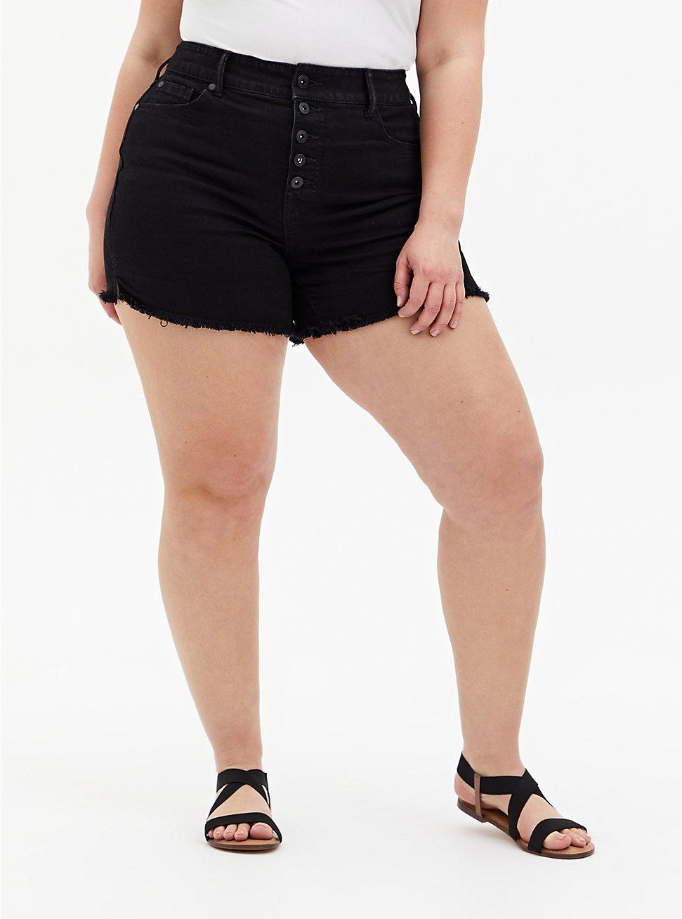 High Rise Mid Short - Vintage Stretch Black, DEEP BLACK, hi-res