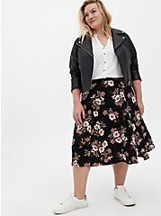 Black Floral Stretch Challis Slit A-Line Midi Skirt, FLORAL - BLACK, alternate
