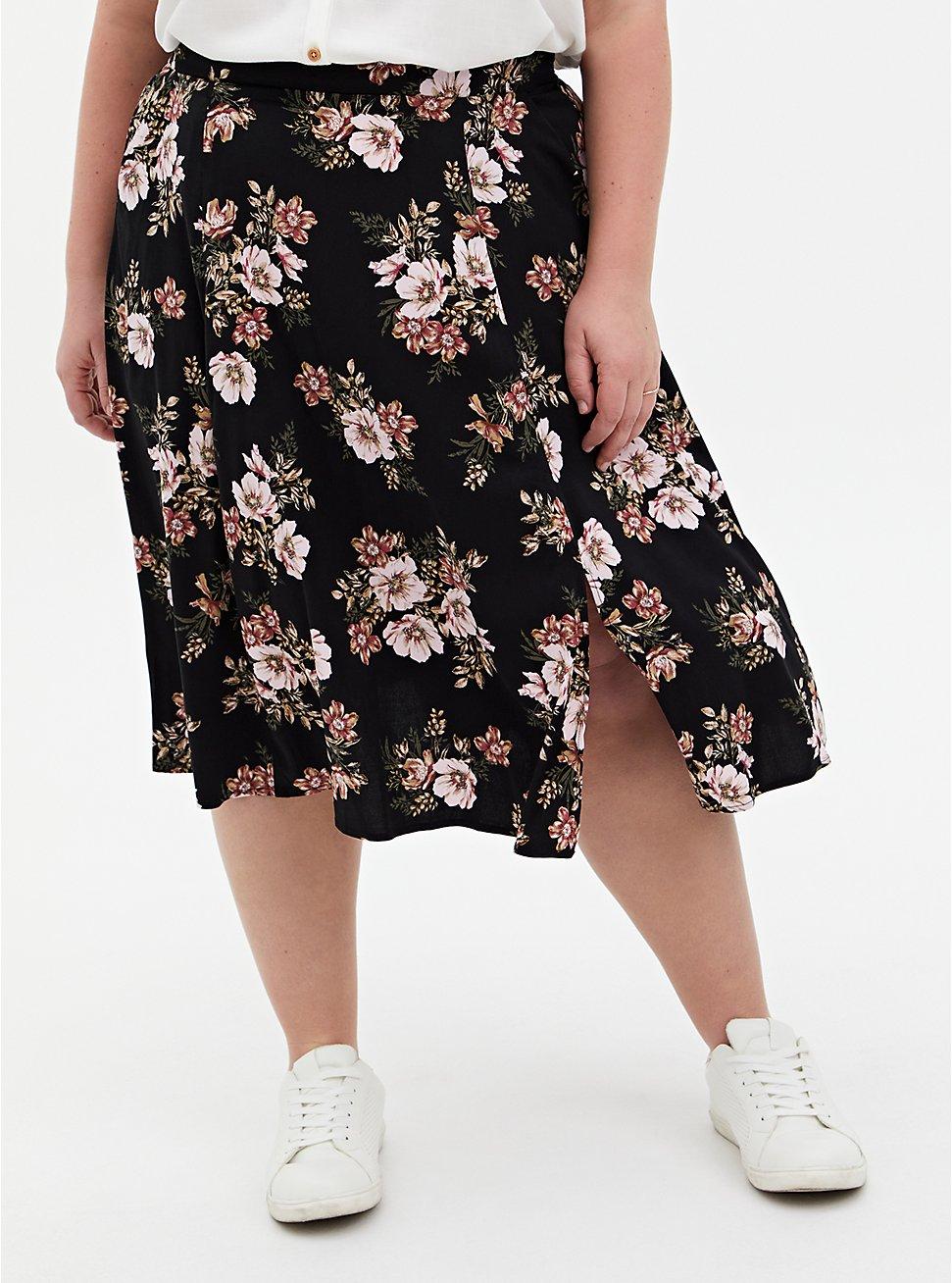 Black Floral Stretch Challis Slit A-Line Midi Skirt, FLORAL - BLACK, hi-res