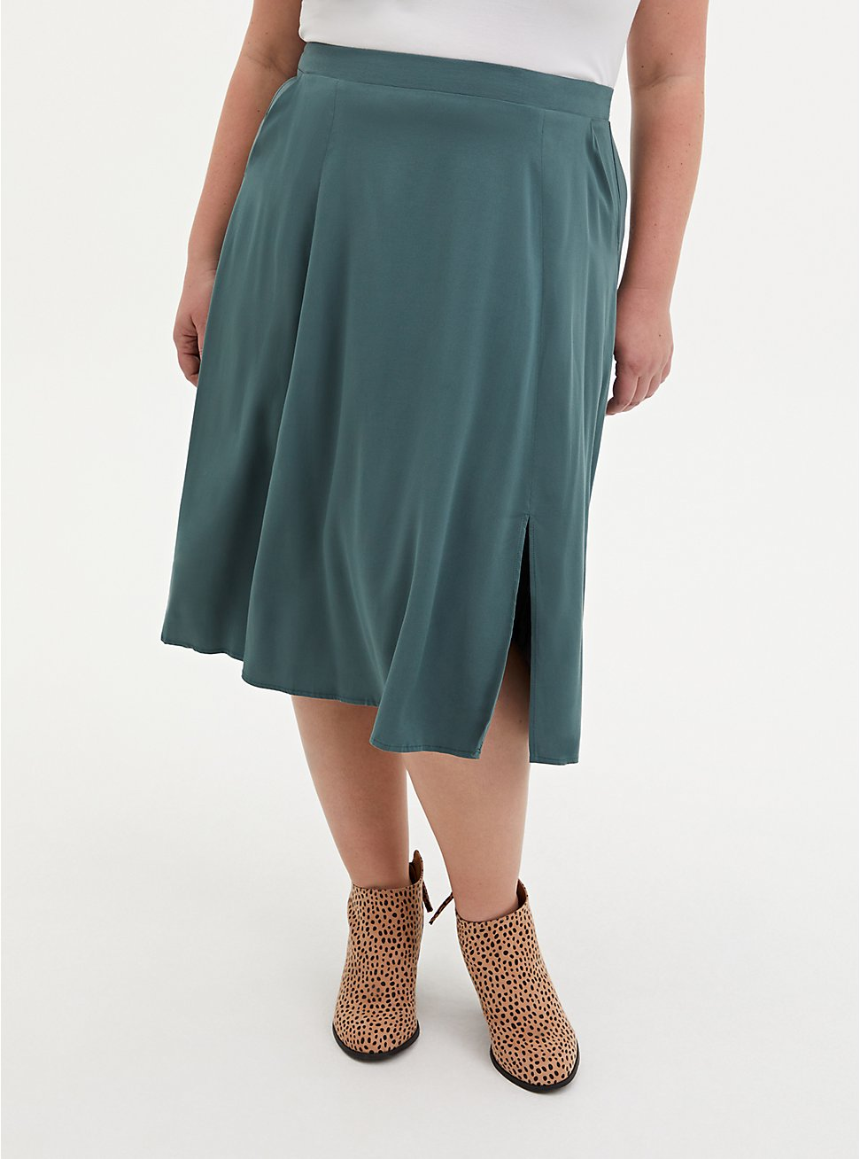 Pine Green Stretch Challis Slit Midi Skirt, , hi-res