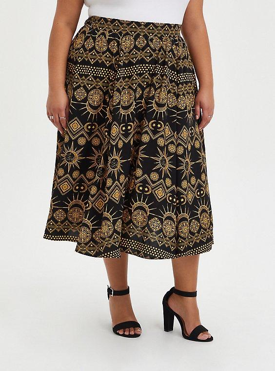 Black Eclipse Challis Tea Length Skirt, OTHER PRINTS, hi-res