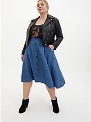 Dark Wash Chambray Button Front Midi Skirt, CHAMBRAY, alternate