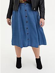 Dark Wash Chambray Button Front Midi Skirt, CHAMBRAY, hi-res
