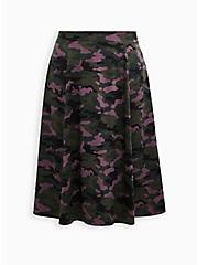 Camo Satin Midi Skirt, CAMO, hi-res