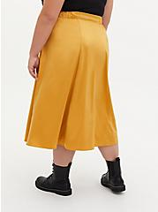 Golden Yellow Satin Tea Length Skirt, GOLD, alternate