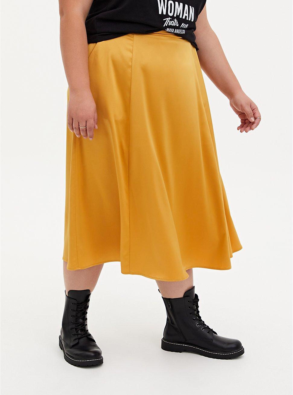Golden Yellow Satin Tea Length Skirt, GOLD, hi-res