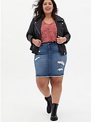 Plus Size Denim Mini Skirt - Distressed Light Wash, CALI LOVE, alternate