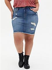 Plus Size Denim Mini Skirt - Distressed Light Wash, CALI LOVE, hi-res