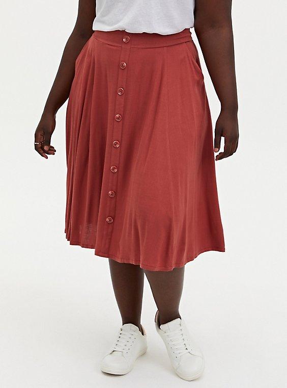 Marsala Red Button Up Midi Skirt, , hi-res