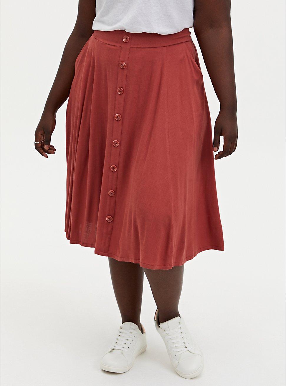 Marsala Red Button Up Midi Skirt, MARSALA, hi-res