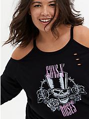 Guns N' Roses Black Terry Cold Shoulder Sweatshirt, DEEP BLACK, alternate