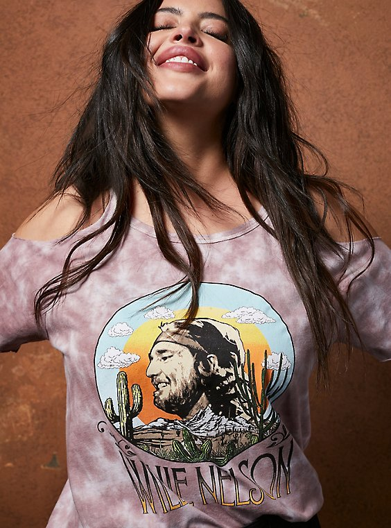 Classic Fit Cold-Shoulder Tee - Willie Nelson Pink Tie-Dye, TIE DYE-PINK, hi-res