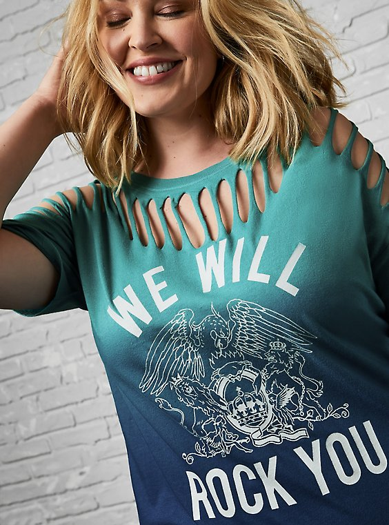Relaxed Fit Tee - Queen Teal Dip-Dye Slashed, , hi-res