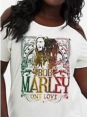Classic Fit Cold-Shoulder Tee - Bob Marley White, MARSHMALLOW, alternate