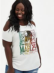 Classic Fit Cold-Shoulder Tee - Bob Marley White, MARSHMALLOW, hi-res