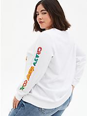 Plus Size TLC White Fleece Sweatshirt, BRIGHT WHITE, alternate