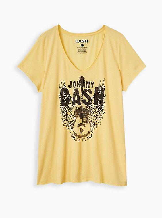 Classic Fit V-Neck Tee - Johnny Cash Yellow , , hi-res