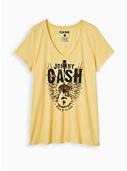 Classic Fit V-Neck Tee - Johnny Cash Yellow , YELLOW, hi-res