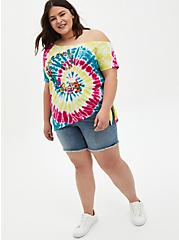 Off-Shoulder Tee - Grateful Dead Rainbow Tie-Dye , MULTI, alternate