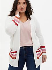 Ivory & Multi Stripe Open Front Cardigan, MULTI, hi-res