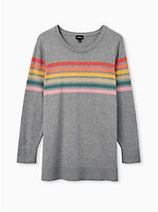 Light Heather Grey & Intarsia Rainbow Stripe Sweater, MULTI, hi-res