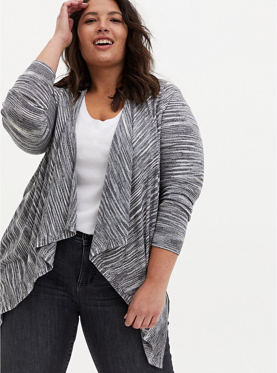 Black & White Stripe Space-Dye Cardigan Sweater, MULTI, hi-res