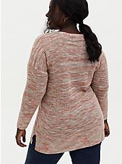 Beige & Light Pink Slub Drop Shoulder Sweater, MULTI, alternate