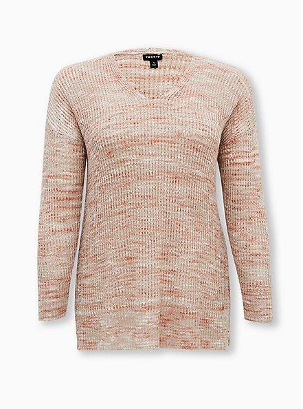 Beige & Light Pink Slub Drop Shoulder Sweater, MULTI, hi-res
