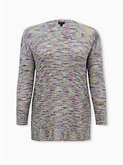 Rainbow Slub Drop Shoulder Sweater, MULTI, hi-res