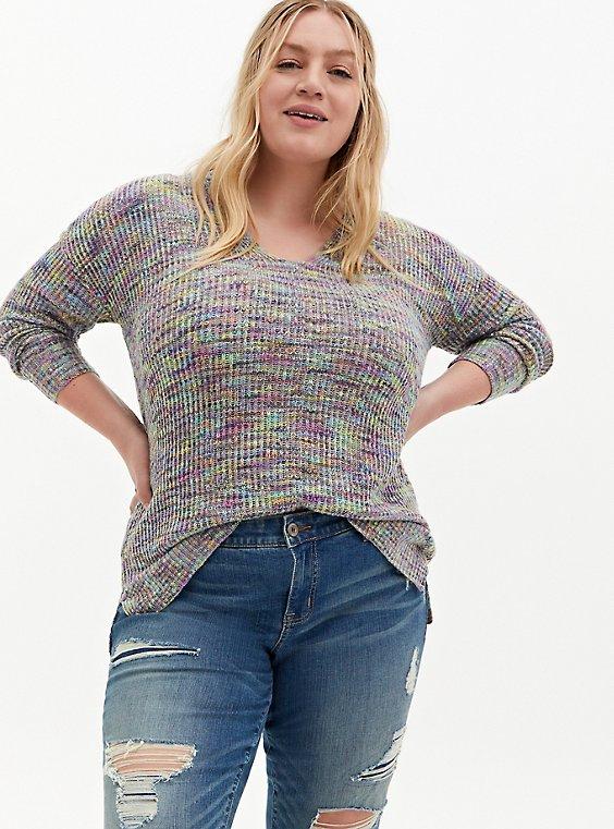 Rainbow Slub Drop Shoulder Sweater, , hi-res