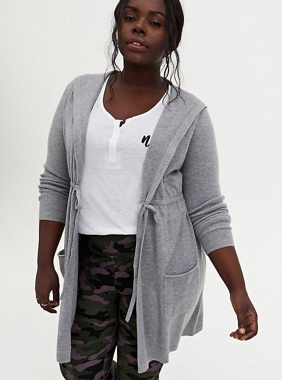 Heather Grey Hooded Anorak Sweater, HEATHER GREY, hi-res