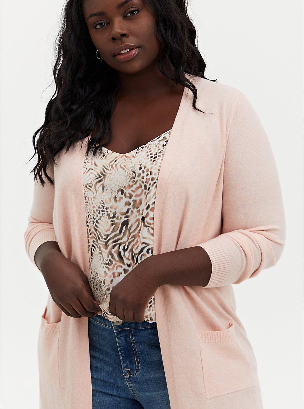 Light Pink Soft Yarn Duster Cardigan, PALE BLUSH, hi-res