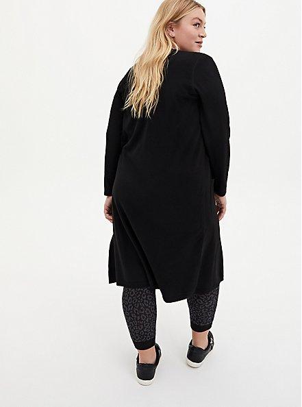 Black Soft Yarn Duster Cardigan, DEEP BLACK, alternate