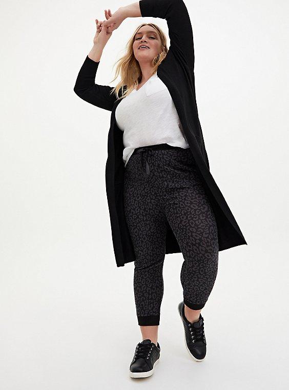 Black Soft Yarn Duster Cardigan, DEEP BLACK, hi-res