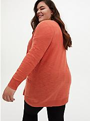 Orange Slub Boyfriend Cardigan Sweater, ORANGE, alternate