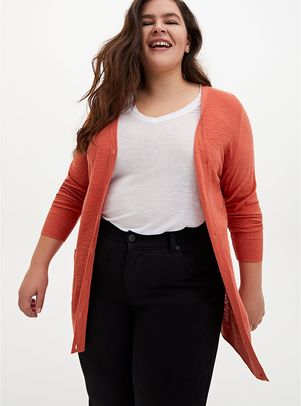 Orange Slub Boyfriend Cardigan Sweater, ORANGE, hi-res