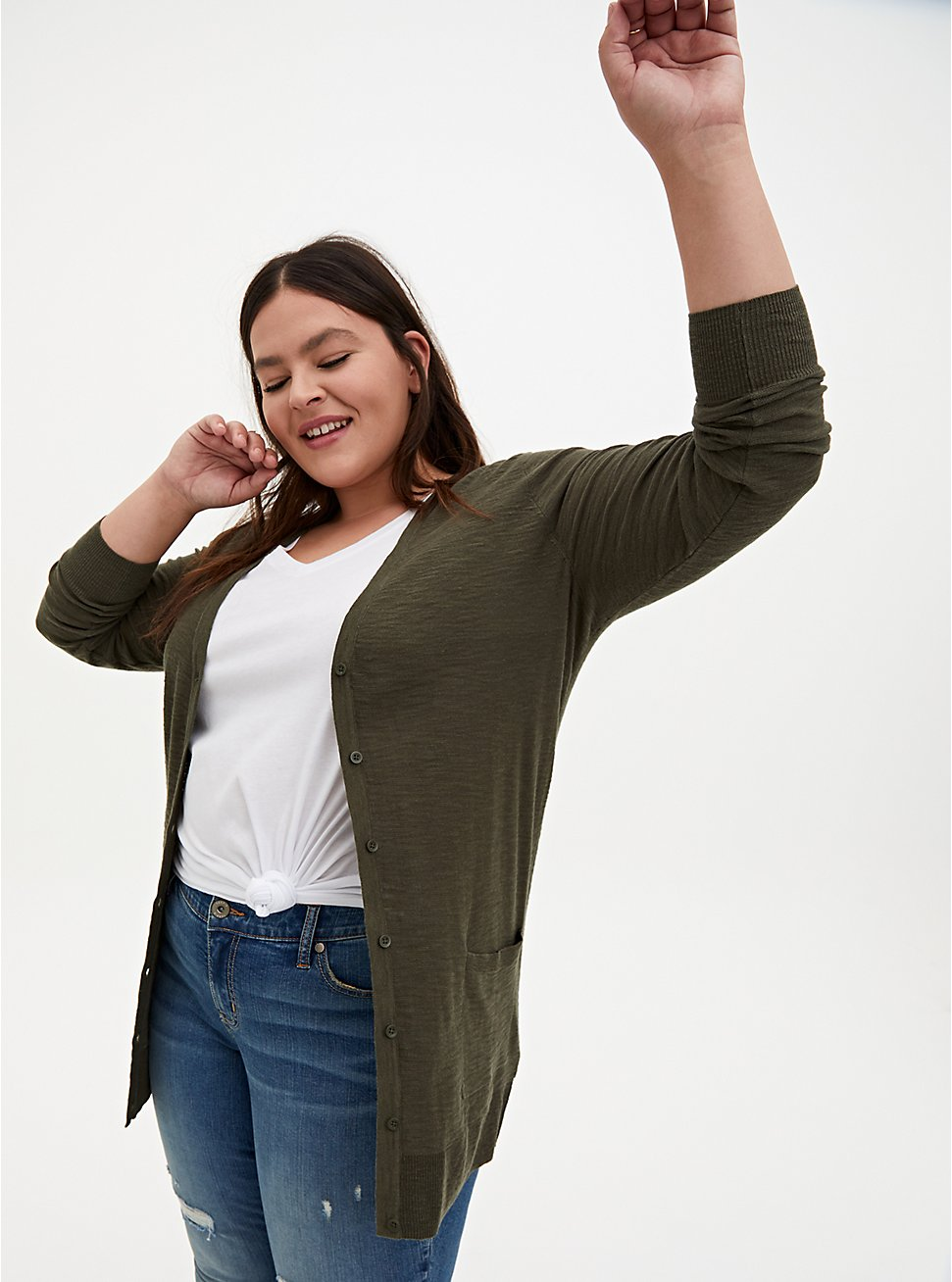 Olive Green Slub Boyfriend Cardigan Sweater, DEEP DEPTHS, hi-res