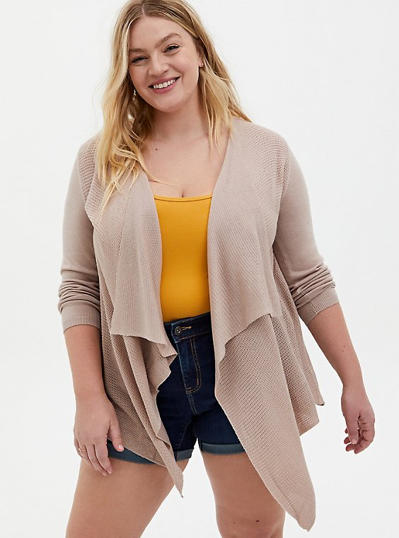 Oatmeal Rib Stitch Cardigan Sweater, , hi-res